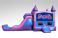 Atlanta Braves Pink and Purple Bounce House Combo w/Single Lane Dry Slide