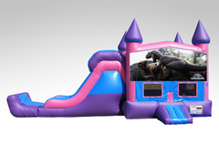 Jurassic World Pink and Purple Bounce House Combo w/Single Lane Dry Slide