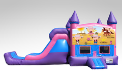 Cowgirls Pink and Purple Bounce House Combo w/Single Lane Dry Slide