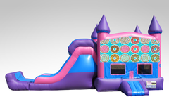 Doughnuts Pink and Purple Bounce House Combo w/Single Lane Dry Slide