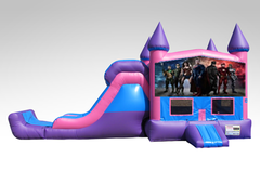 Justice League Pink and Purple Bounce House Combo w/Single Lane Dry Slide