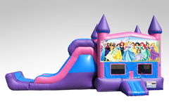 Disney Princess Pink and Purple Bounce House Combo w/Single Lane Dry Slide