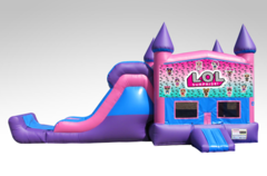 LOL Pink and Purple Bounce House Combo w/Single Lane Dry Slide