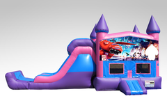 Big Hero 6 Pink and Purple Bounce House Combo w/Single Lane Dry Slide
