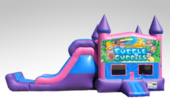 Bubble Guppies Pink and Purple Bounce House Combo w/Single Lane Dry Slide