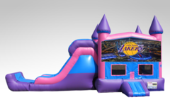 Los Angeles Lakers Pink and Purple Bounce House Combo w/Single Lane Dry Slide