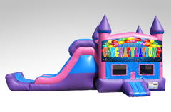 Congratulations Pink and Purple Bounce House Combo w/Single Lane Dry Slide