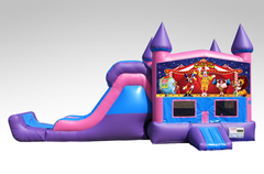 Carnival Pink and Purple Bounce House Combo w/Single Lane Dry Slide