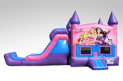Barbie Pink and Purple Bounce House Combo w/Single Lane Dry Slide