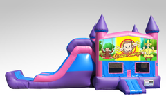 Curious George Pink and Purple Bounce House Combo w/Single Lane Dry Slide