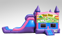 Farm House Pink and Purple Bounce House Combo w/Single Lane Dry Slide