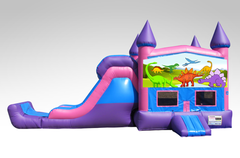 Dinosaurs Pink and Purple Bounce House Combo w/Single Lane Dry Slide