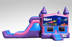 Finding Dory Pink and Purple Bounce House Combo w/Single Lane Dry Slide