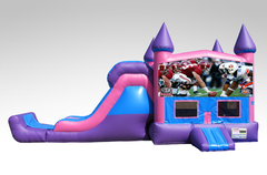 Alabama vs Auburn Pink and Purple Bounce House Combo w/Single Lane Dry Slide