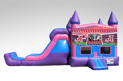 Alabama Pink and Purple Bounce House Combo w/Single Lane Dry Slide