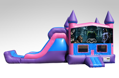 Batman Pink and Purple Bounce House Combo w/Single Lane Dry Slide