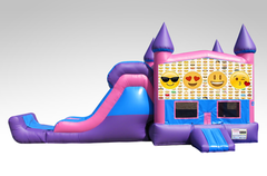 Emojis Pink and Purple Bounce House Combo w/Single Lane Dry Slide