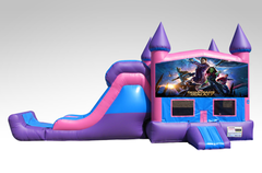 Guardians of the Galaxy Pink and Purple Bounce House Combo w/Single Lane Dry Slide