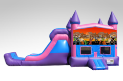 Cowboys Pink and Purple Bounce House Combo w/Single Lane Dry Slide