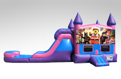 Lego Movie Pink and Purple Bounce House Combo w/Single Lane Water Slide