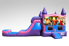 Lego Ninjago Pink and Purple Bounce House Combo w/Single Lane Water Slide