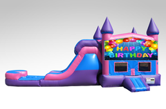 Happy Birthday Pink and Purple Bounce House Combo w/Single Lane Water Slide