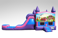 Fireman Pink and Purple Bounce House Combo w/Single Lane Water Slide
