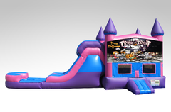Halloween Pink and Purple Bounce House Combo w/Single Lane Water Slide