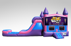 LSU Pink and Purple Bounce House Combo w/Single Lane Water Slide