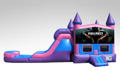 Call of Duty Pink and Purple Bounce House Combo w/Single Lane Water Slide