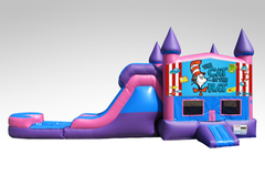 Cat in the Hat Pink and Purple Bounce House Combo w/Single Lane Water Slide