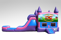 Daniel Tiger Pink and Purple Bounce House Combo w/Single Lane Water Slide