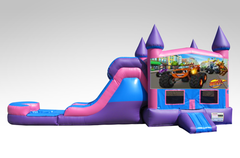 Blaze Pink and Purple Bounce House Combo w/Single Lane Water Slide