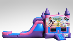 Disney Fairies Pink and Purple Bounce House Combo w/Single Lane Water Slide