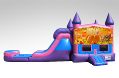 Happy Thanksgiving Pink and Purple Bounce House Combo w/Single Lane Water Slide