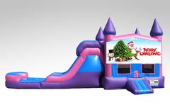 Merry Christmas Pink and Purple Bounce House Combo w/Single Lane Water Slide