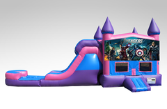 Avengers Pink and Purple Bounce House Combo w/Single Lane Water Slide