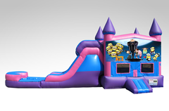 Despicable Me Pink and Purple Bounce House Combo w/Single Lane Water Slide