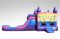 Baby Shower Pink and Purple Bounce House Combo w/Single Lane Water Slide