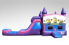 Minions Pink and Purple Bounce House Combo w/Single Lane Water Slide