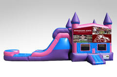 Mississippi State Pink and Purple Bounce House Combo w/Single Lane Water Slide