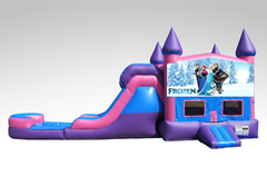 Disney Frozen Pink and Purple Bounce House Combo w/Single Lane Water Slide