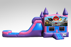Angry Birds Pink and Purple Bounce House Combo w/Single Lane Water Slide