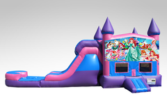 Little Mermaid Pink and Purple Bounce House Combo w/Single Lane Water Slide