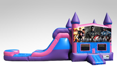 Captain America Pink and Purple Bounce House Combo w/Single Lane Water Slide