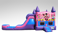 Minnie Mouse Pink and Purple Bounce House Combo w/Single Lane Water Slide
