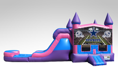Dallas Cowboys Pink and Purple Bounce House Combo w/Single Lane Water Slide