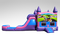 Mickey Mouse Roadster Pink and Purple Bounce House Combo w/Single Lane Water Slide