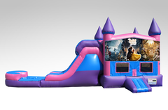 Beauty and the Beast Pink and Purple Bounce House Combo w/Single Lane Water Slide