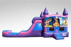 Beauty and the Beast Original Pink and Purple Bounce House Combo w/Single Lane Water Slide